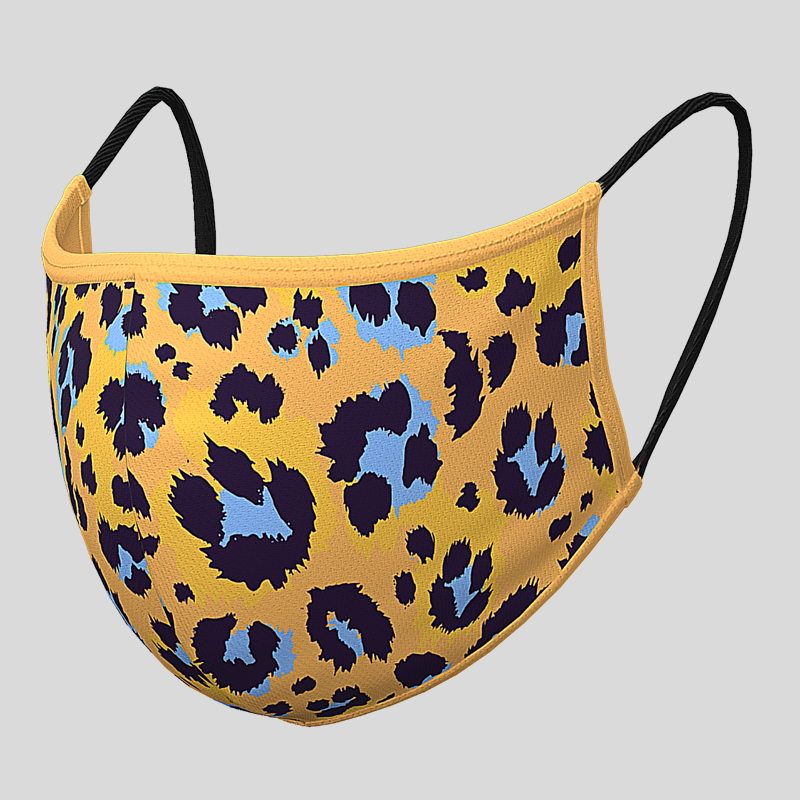 Fashion Textil-Gesichtsmaske senfgelb Leopard