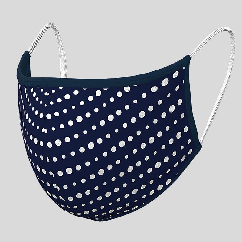 Fashion Textil-Gesichtsmaske Marineblau mit Punkten
