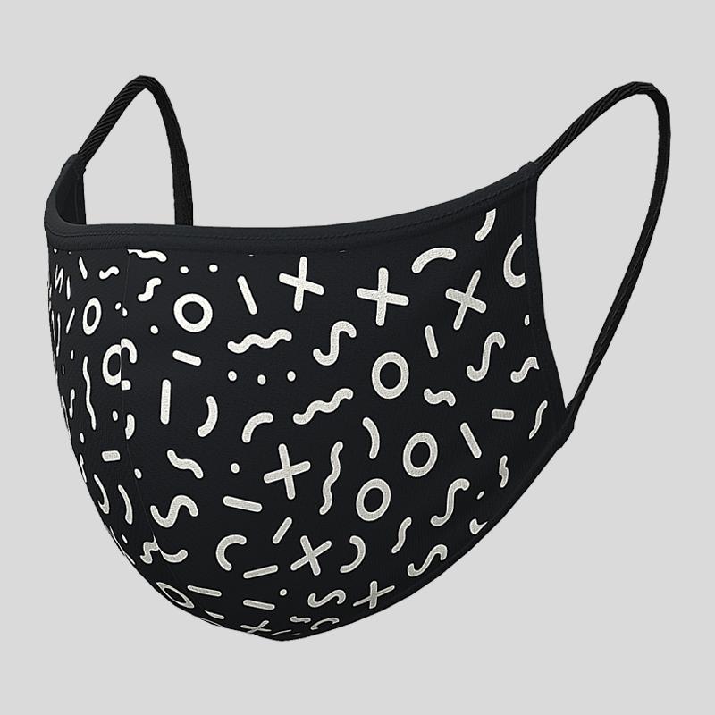 Fashion Textil-Gesichtsmaske schwarz-weiss